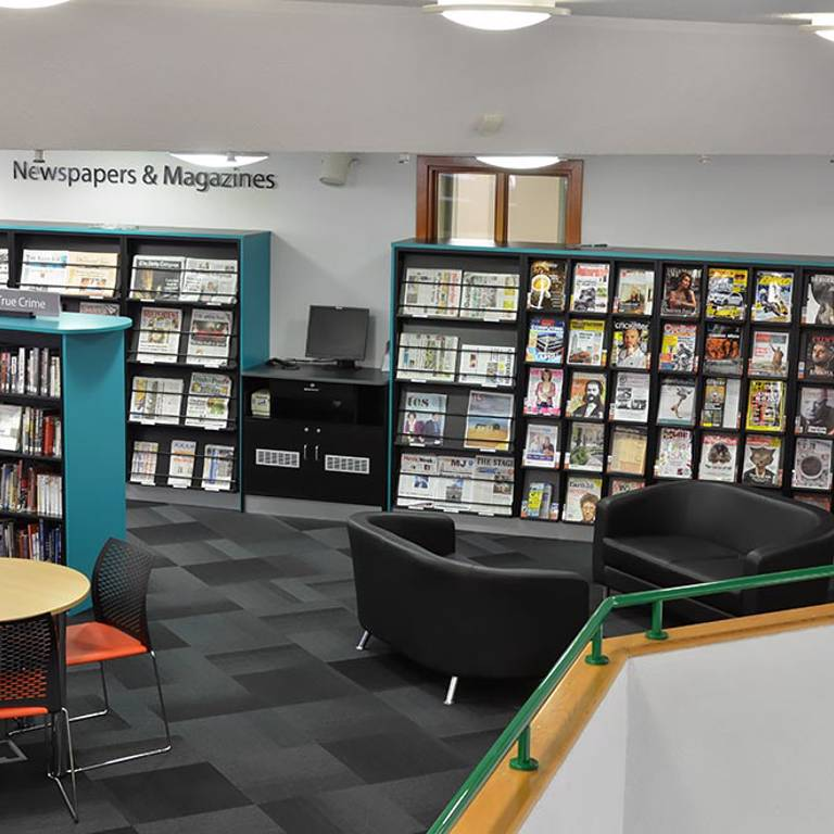 Seating and tables near magazines and newspapers, Redbridge Library