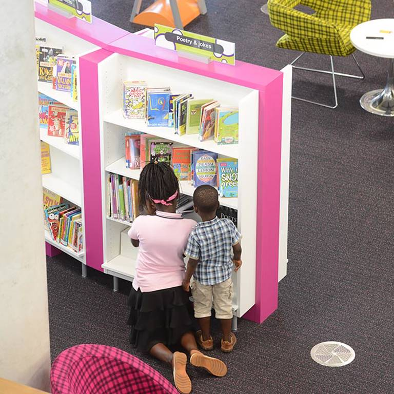 Small format books on Perspex zig-zags, Southwater Library (Telford)