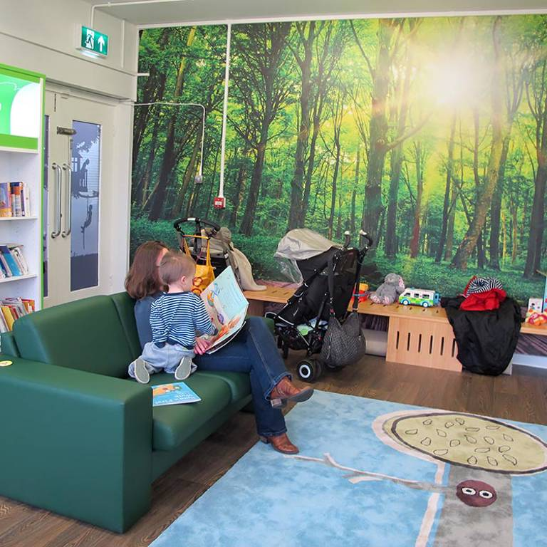 Woodland scene graphics and rug, South Woodford Library
