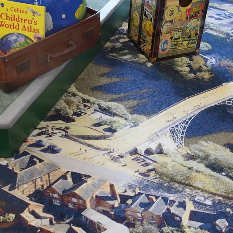 Birds'-eye view of Ironbridge on bespoke carpet tiles, Southwater Library (Telford)