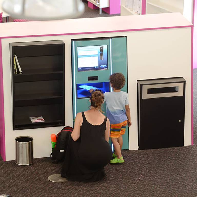 Mid-floor self-service units, Southwater Library (Telford)
