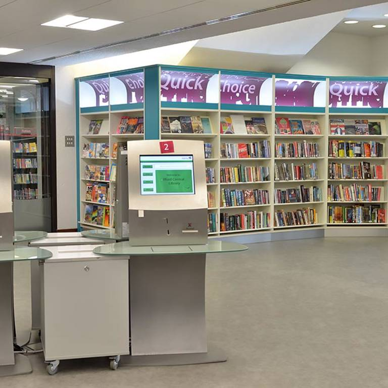 Self-service provision in quick choice area, Redbridge Library