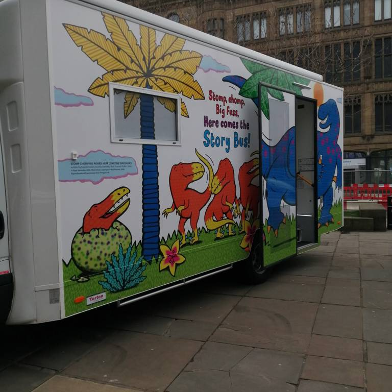 Story Bus outside Leeds Central Library