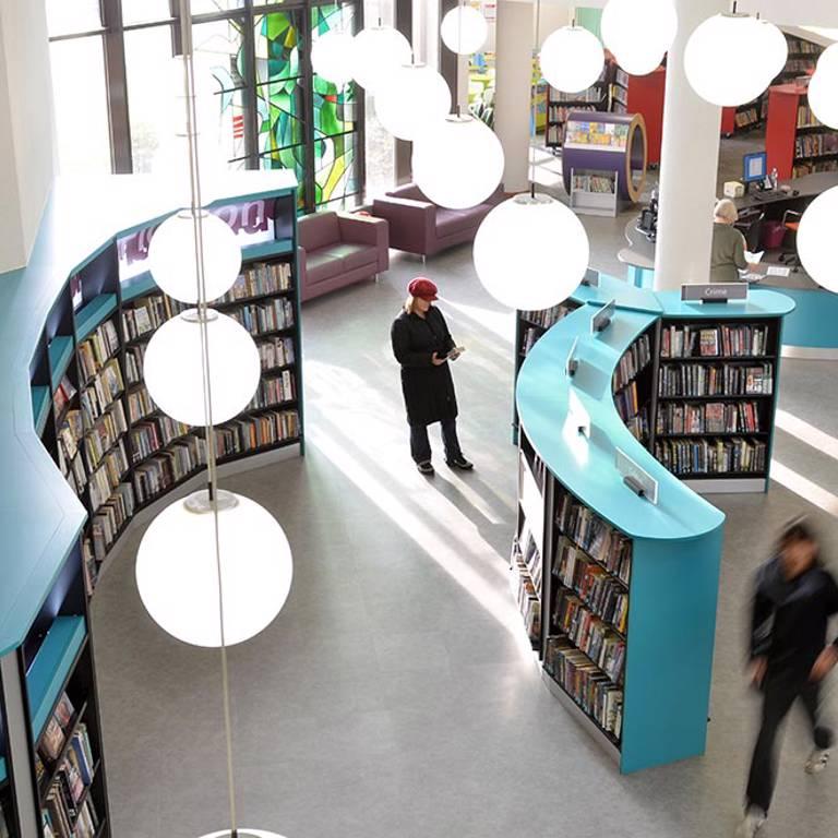 Quick choice area near counter, Redbridge Library