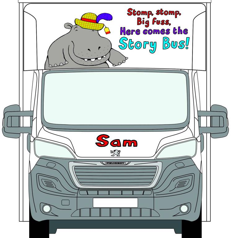 Front view of Sam the Story Bus