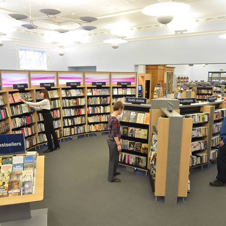 Retail-style lightbox bookcases, Gateshead Central Library