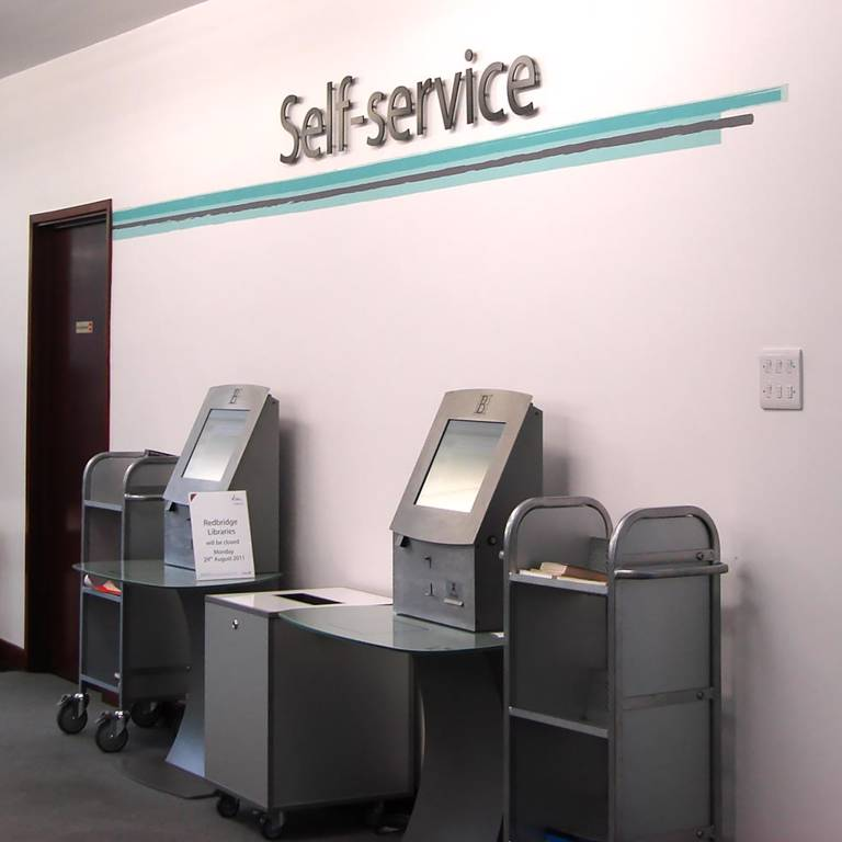 High impact signage in self-service area, Redbridge Library
